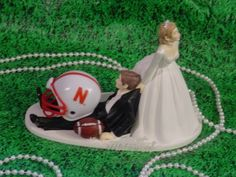 Nebraska Huskes College Football Sports Wedding Cake Topper University