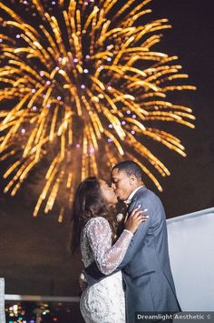 Firework wedding photography, white wedding dress with lace sleeves