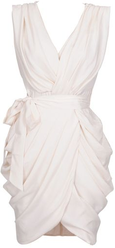 white chiffon wrap dress