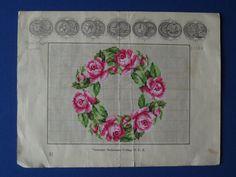 A Very Pretty Rose Wreath Berlin WoolWwork Pattern