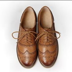 Women's Real Leather Flat Oxfords Brogues Wingtip Lace Up Shoes Casual Shoes New Heeled Brogues, Oxford Brogues, Wingtip Shoes, Oxford Flats, Oxford Shoes Outfit, Women Oxford Shoes, Casual Shoes, Shoes Men, Women's Shoes