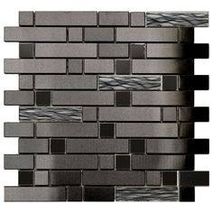 Stainless Steel Tile-Black Stainless With Black Wave Glass Mosaic Tile