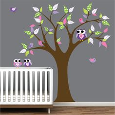 Wall Decals tree with owls birds-Childrens vinyl wall decals. 99.00, via Etsy.