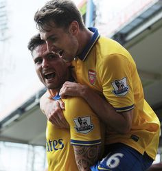 Olivier Giroud celebrates his goal with Aaron Ramsey. Crystal Palace 0-2 Arsenal (October 2013) by Stuart MacFarlane