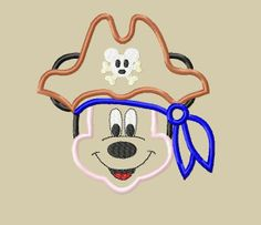 Design+-+INSTANT+DOWNLOAD+-+Mister+Mouse+Full+Face+Pirate+Captain+Applique+Embroidery+Design+-+5x7+6x10,+$3.75