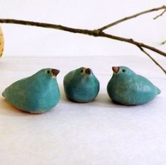 Three Little Bluebirds, Stoneware Miniature Bird Sculptures