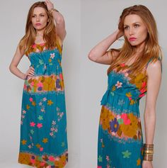 Vintage 60s Hawaii KAMEHAMEHA Maxi Dress Turquoise Blue Exotic Floral Retro Rockabilly Shift