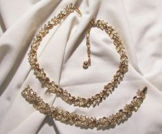 Wear me out Vintage Jewels on Ruby Lane 30% off Red Tag Sale starts Sat May 19 8:00 AM, ends Sun May 20 8:00 AM Pacific Time. Preview Sale now and don't miss my Ruby Plaza shop 3 day 20% off Storewide Sale ends 5/20 Discount at purchase or refunded Links for each shop on home pages  Trifari Crown Rhinestone Demi Parure Necklace Bracelet Set circa 50's Beautiful