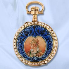 Late Victorian Ladies Enamel, Seed Pearl And 14k Yellow Gold Open Face Pocket Watch