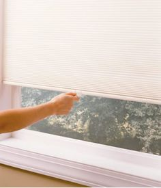 Cordless Cell Shades allow the user to open the shades by simply pushing the handle for hard to reach or high up windows. Honeycomb Blinds, Honeycomb Shades, Sheer Blinds, Blackout Blinds, Cellular Shades, House Blinds, Types Of Houses, Shutters, Home Deco