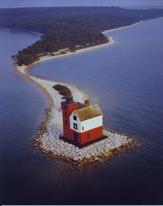 Round Island Lighthouse, Straits of Mackinac, Michigan, USA (Lakes Huron & Michigan)