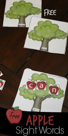 FREE Apple Tree Sight Words Practice – this is such a fun free printable sight words activity for preschool, kindergarten, and first grade kids. Perfect fall educational activity or literacy center. - Kids education and learning acts Apple Activities Kindergarten, Kindergarten Centers, Autumn Activities, Kindergarten Activities, Preschool Apples, Preschool Literacy, Preschool Sight Words, Sight Word Activities, Kindergarten Sight Words Printable