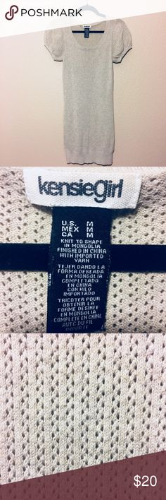 """KENSIE GIRL GRAY KNIT SWEATER DRESS Size M. Knit to shape in Mongolia. Finished in China with imported yarn (as per tag). Light gray in color. Approximately 32"""" long from back neckline (sits higher then front neckline) to bottom of dress. Kensie Girl Dresses"""