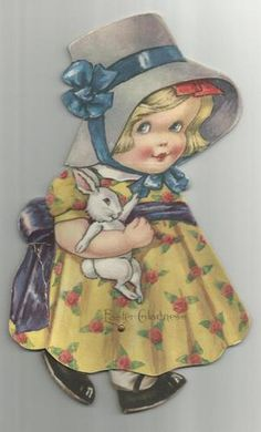 Easter bunny - THIS reminds me of the cards that my sister Carole makes!