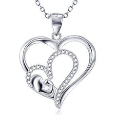 Mothers Day Gift Birthday Sterling Silver Interlock Love Heart Pendant Necklace #PendantNecklace #Pendant