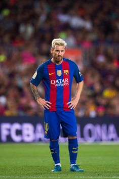 Lionel Messi of FC Barcelona looks on during the Joan Gamper trophy match…