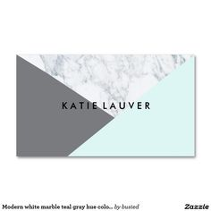 Modern white marble teal gray hue color block chic Double-Sided standard business cards (Pack of 100)