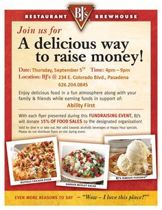 Come out and join us at BJ's restaurant in Pasadena, CA for a fundraising event.