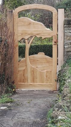 May hill gate Art Deco garden gate in style of clarice Cliff Garden Gates, Garden Bridge, Tree Logs, Clarice Cliff, Log Furniture, Tree Art, My Dream Home, Art Projects, Project Ideas