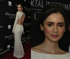 Lily Collins in a white lace Houghton dress (F/W 2013) at the Toronto premiere of The Mortal Instruments: City of Bones last Thursday. She kept her accessories minimal—a few rings and dark nails—letting her dress stand-out.