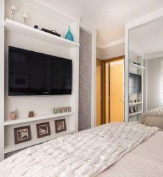 Room with TV panel. - Home - Decoração Ideias Closet Bedroom, Home Bedroom, Master Bedroom, Bedroom Decor, Bedrooms, Small Apartments, Small Spaces, Home Interior, Interior Design