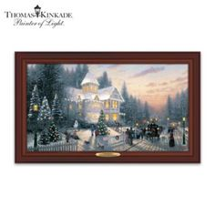 Limited edition! Thomas Kinkade framed canvas print with 8 LED lights, over 75 colour-changing fibre optic lights, hand-applied glitter