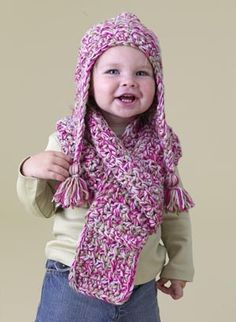 Ahhhhhdorable Speed Hook Earflap Hat and Scarf Set: free #crochet #pattern
