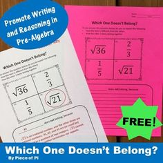 Which One Doesn't Belong? Try one out for FREE! I always want my students to… Math Writing, Writing Numbers, Math Math, Math Teacher, Math Classroom, Teaching Math, Irrational Numbers, Math Intervention, 7th Grade Math