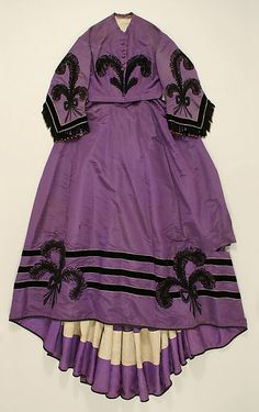 1863 Royal purple silk 2-piece day dress, black trim - black and white photo also posted!