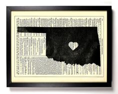 Oklahoma State Dictionary Book Print Upcycled by StayGoldMedia