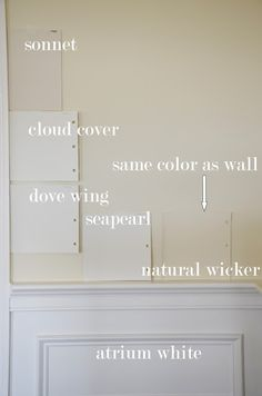 The Enchanted Home: paint colors. Sonnet by BM is a soft white with taupe undertones. Looks good with atrium white molding