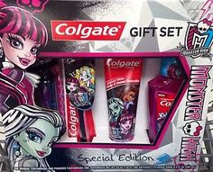 Monster High Toothpaste Toothbrush Gift set With Mouthwash NEW Christmas List 2016, Daisy Marie, Mattel Dolls, Mouthwash, My Little Girl, Cavities, Bathroom Stuff, Bathrooms, Zebra Print