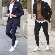 Left or right? Choose one! Blazer Outfits Men, Mens Fashion Blazer, Suit Fashion, Mens Casual Suits, Stylish Mens Outfits, Mens Suits, Blazers For Men Casual, Formal Men Outfit, Men Formal