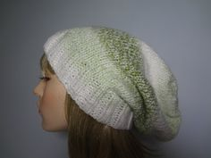 Green and White Stripe Knit Slouchy Tam Hat Cap by yarnnscents, $19.00