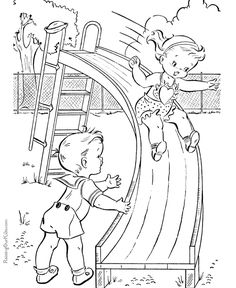 Playground kids coloring page of summer