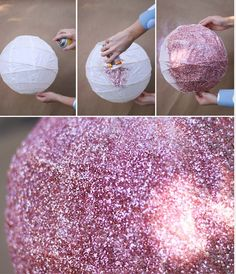 DIY disco ball out of a lantern--- I actually made three of these for decor at my wedding reception! We used an acrylic sealing spray after the glitter. They were pretty!
