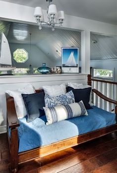 Navy accents w/ silvery blues. Looks good w' driftwood or darker woods Lakehouse - beach-style - Bedroom - Dallas - Kim D. Hoegger