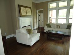 "Lumber Liquidators handscraped engineered hardwood (5"" Potomac Planks by Virginia Mill Works). Paint is BM Lenox Tan"