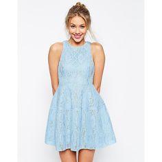 ASOS Bonded Lace High Neck Lantern Mini Dress ($23) ❤ liked on Polyvore featuring dresses, lace mini dress, asos dresses, tall dresses, blue dress and zipper dress