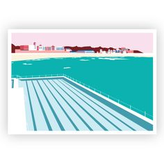 Original digital illustration of the iconic Icebergs swimming pool at Bondi Beach, Australia. Wendy House, Clock For Kids, Beach Wall Art, Bondi Beach, All Wall, Kids Decor, Digital Illustration, Temple, Swimming Pools