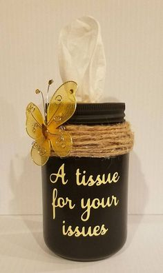 **READY TO SHIP** Primitive Mason Jar Tissue Holder Pint Size Great for Bathrooms, Office, Living Room and can easily fit in vehicle cup holder. ( tissues for your issues ) Thrift Store Outfits, Thrift Store Crafts, Pot Mason, Mason Jar Gifts, Mason Jar Diy, Primitive Mason Jars, Diy Craft Projects, Projects To Try, Pots