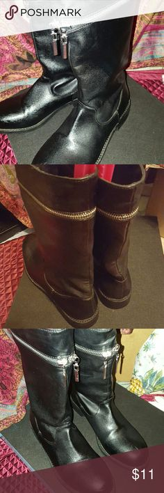Awesome Victoria's Secret boots! Motorcycle style boots by Victoria's Secret, womens size 8, silver zipper details around top, all man-made materials, they are fairly heavy, have very faint scuffs on toe (see pics), worn maybe 3x, very good condition! Victoria's Secret Shoes