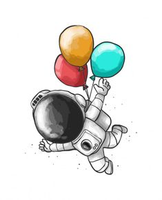 'Astronaut Balloon Cartoon' T-Shirt by designsbycollin Space Artwork, Space Drawings, Cool Art Drawings, Art Drawings Sketches, Easy Drawings, Doodle Art, Astronaut Drawing, Balloon Cartoon, Illustration
