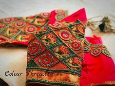 Designer blouse Wedding Saree Blouse Designs, Pattu Saree Blouse Designs, Blouse Designs Silk, Hand Work Blouse Design, Simple Blouse Designs, Maggam Work Designs, Hand Designs, Fancy, Aari Embroidery