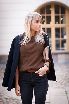 navy blazer + brown sweater.