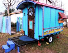 The Hobbit Hutch: a 56 sq. vardo/caravan/gypsy wagon with a 20 sq. It has tiny appliances in a tiny kitchen area with working windows jalousie windows on both sides of the bed transom . Gypsy Trailer, Gypsy Caravan, 5x8 Trailer, Trailer Awning, Teardrop Trailer, Land Rovers, Writing Studio, Diy Camper, Camper Ideas
