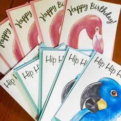 Pink flamingo illustration also features on birthday cards  |  listed soon on Etsy