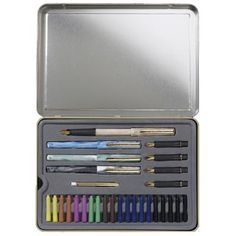 Save On Discount Staedtler Deluxe Calligraphy Pen Tin Set of 33 pcs incl 4 pens, 5 nibs, 7 colors & More Calligraphy Pen and Ink at Utrecht