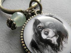 Cavalier King Charles Spaniel Key Ring Pet Drawing Pet by jsPetART