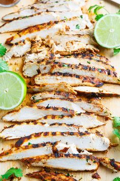 While it's still warm enough to do some grilling, make this Taco Lime Grilled Chicken. Just marinate the chicken in the taco seasoning and some lime juice, grill it and you have one simple, tasty meal! Serve these tasty chicken breasts as is or slice them up and use them in anything from tacos to burritos to quesadillas. Cooking Tip: Make larger batches so you have leftovers to use in other recipes requiring grilled chicken.
